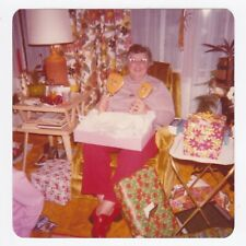 Square Vintage 70s PHOTO Woman Opening & Showing Presents Gifts