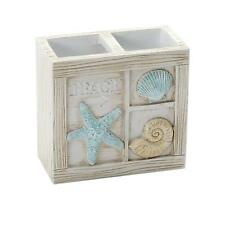 Rectangle Beige Blue Sea Shell Beach House Counter Bathroom Toothbrush Holder
