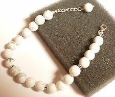 925 Sterling Silver Natural Round Cabochon White Howlite Bracelet