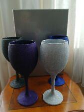 4 Glitter Stem Wine Glasses Goblets BNIB