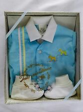 Vintage 3 pc Take Me Home Infant Baby Outfit Boy Hand Embroidered New NIB Size 0