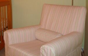 Ikea Ektorp Jennylund Chair Cover & bolster red pink green striped DISCONTINUED