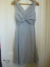 L.K. Bennett Size 10 Silk Cocktail Party Grey Silver Dress