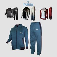 Men's Full Zip Athletic Fleece Gym Tracksuit Hooded Top Sweatsuit
