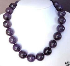 "Big Beads Necklace 18"" Aa Natural 12Mm Amethyst Purple Quartz"