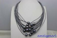 """black freshwater pearl 15strand gray Genuine leather cord necklace19-23"""""""