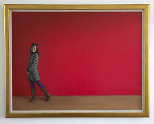Ragazza Cinese Vestito a Strisce Donna Asiatica Rosso Originale dipinto ad olio su tela