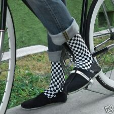 K.Bell Men's Pair Socks Black White Checkerboard Desgin Cotton Blend Socks NWT
