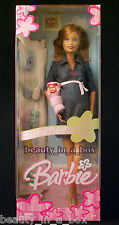 Pregnant Midge & Baby Barbie Doll Happy Family Tummy Bump Denim Dress NRFB ""