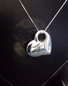 """Real 925 Sterling Silver Ladies Chunky Large Statement Puffed Heart Pendant 18"""""""