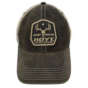 HOYT Archery Bow Hunting Trucker Hat Snapback Slouch Dad Cap Brown Mesh Back