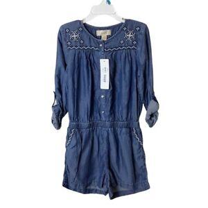 NWT Peek Girls Zoe Chambray Embroidered Romper Size XS (4/5)