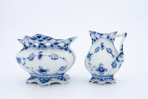 Blue Fluted #1031, #1112 - Royal Copenhagen - Sugarbowl & Creamer - 1:st Quality