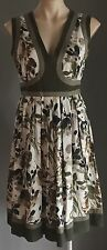 Unique ZAMBELLI DONNA Cotton Dress Khaki, Brown & Navy Floral Print Size 10