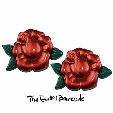 TFB - RED ROSE STUD EARRINGS Flower Love Retro Quirky Tattoo Rockabilly Boho Fun