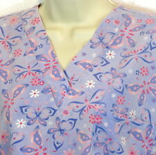 Scrubs Size Small Lavender w/ Butterflies V-Neck 65% Polyester 35% Cotton