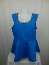 City Chic Plus Size Sleeveless Studded Chain Neck Peplum Top Ocean Blue XL #3944