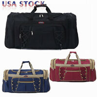 "26"" Canvas Duffle Bag Carry-on Overnight GYM Travel Tote Luggage Suitcase &Strap"