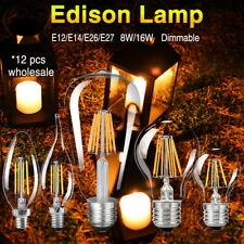 Dimmable Edison Filament LED Bulbs Chandelier Candle/Flame/Globe Light 12 Pcs 0