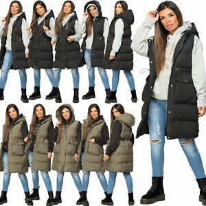 Womens Hooded Quilted Drawstring Gilet Waistcoat Padded Vest Longline Bodywarmer