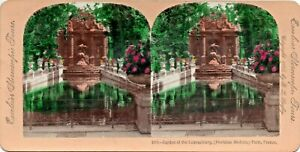 Tinted Stereo Card Medici Fountain Garden of Luxembourg B L Singley 1895