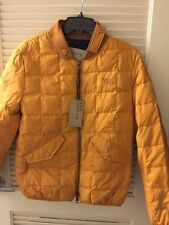 $795 Burberry Brit Down-Filled Quilted Bomber Yellow Jacket XS-M