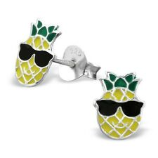 Childrens Girls Sterling Silver Yellow Pineapple Sunglasses Stud Earrings -Boxed