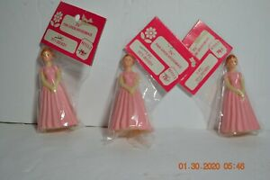 3 1950's Wedding Pink Dress Brides Maid Plastic Cake Toppers in Original Package