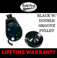 BBC SBC Chevy Black Saginaw Style Power Steering Pump w/ Double Groove Pulley