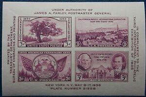 1936 International Philatelic Exhibition Imperforated MNH Mini Sheet from USA