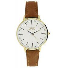 Softech Women's Gold Tan Slim Face Brown PU Leather Strap Analog Watch Quartz