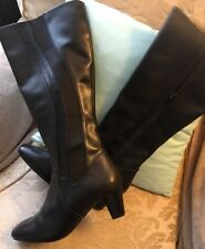 Ladies Clarks Shoes Boots Black Leather STRETCH  Knee Hi Boots Size6 New RRP£100