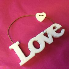 Mini Love Sign Hanging White Decoration Wedding Valentine Sass & Belle Heart