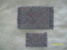 "2 Doll House Handmade Needlepoint Rugs - 3 x 5 1/4""  & 1 3/4"" x 3"" 100% Cotton"