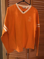 Disney Rugby Style Orange Long Sleeve V Neck Shirt Unisex Size Medium