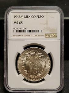 1945 MEXICO SILVER UN PESO - NGC MS 65