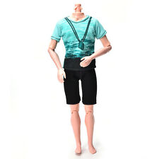 Green T-Shirt Fit for Ken Doll  Cloth Black Short Pants Doll Suit RS