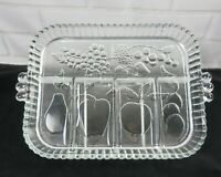 Vintage Indiana Glass 5-Part Divided Relish Fruit Veggie Serving Tray Plate Dish