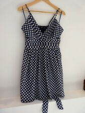 Ladies Lovely Mela London Blue~White Spotted Thigh Length Party Dress Size L,Vgc
