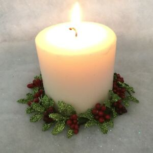 Christmas Candle Ring Holly Berry Glitter Table Decoration Vintage Pillar Leaves