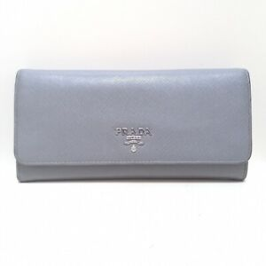 Auth PRADA 1MH132 Gray Leather Long Wallet