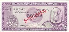 5 PAANGA UNC SPECIMEN BANKNOTE FROM TONGA 1978 PICK-21S CS1 RARE