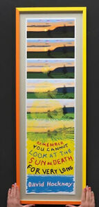 David Hockney Limited Print Lithographic Poster CIRCA yellow silk screen overlay