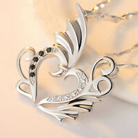 Women 925 Silver Couple Love Pendant Necklace Fashion Jewelry Gift Angel Lovers
