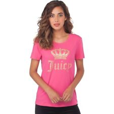 JUICY COUTURE Small DRAGONFRUIT PINK GOLD CROWN TEE top t-shirt short sleeve
