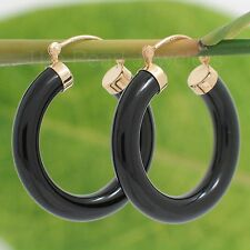 14k Yellow Gold Featuring Tube Ring Made of Genuine Black Onyx Hook earrings TPJ