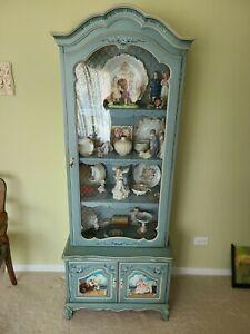 Blue Decorative Curio Cabinet