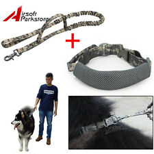 Outdoor Dog Training Elastic Leash Belt+ Nylon Military Police K9 Dog Collar ACU