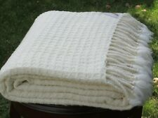 100% Merino Wool Blanket,Natural White Waffle,Twin Bed Size,Soft,Free Shipping