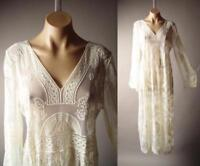 Victorian 20s Bohemian Maxi Gown 265 mv Ivory Embroidered Sheer Lace Dress S M L